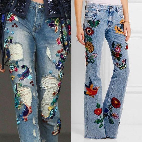 Джинсы с вышивкой: модные и популярные эксперименты 2018