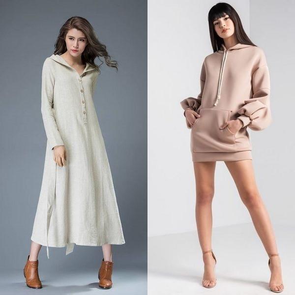 254bb283baf Длинные платья с капюшоном также делятся на две группы – повседневные и  вечерние. Первые можно разделить на несколько стилей. Первый и наиболее  популярный ...