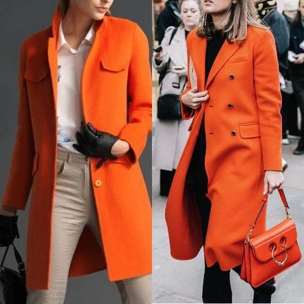 Оранжевое пальто для женщин: молодежный и актуальный стиль 2018 года