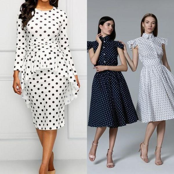 7c6ab288d95 Платье в горошек 2019  фото моделей