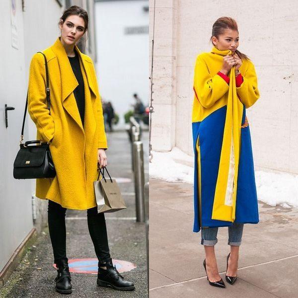 Желтое пальто 2018 года: яркие новинки