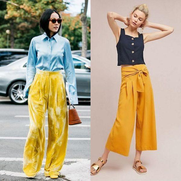 Желтые брюки: радостный и нежный характер актуален в 2018 году