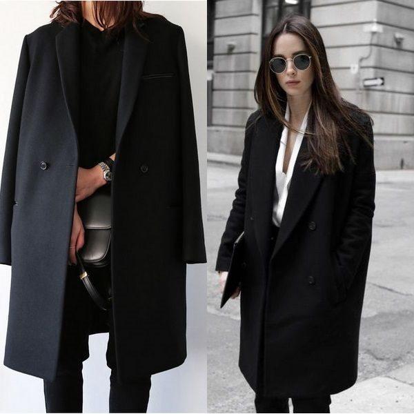 Черное пальто 2018 года: достоинства универсальной женской одежды