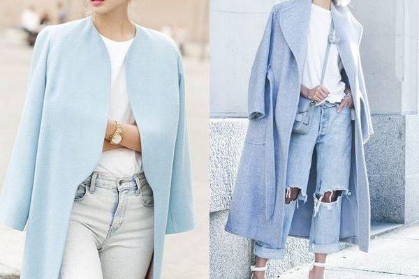 Голубое пальто 2018 года для девушек: оригинальные и яркие модели