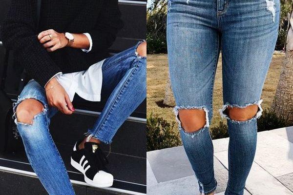 Джинсы с дырками на коленях снова в моде весной и летом 2018 года