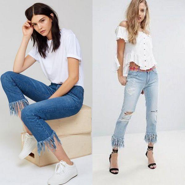 Джинсы с бахромой: модный современный тренд 2018 года