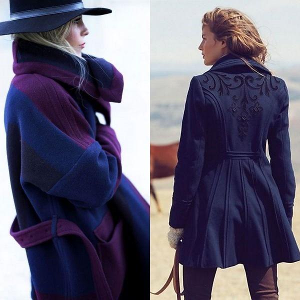 Синее пальто 2018 года  уникальный и универсальный вариант для ... f104d33206c55