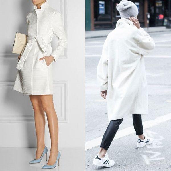 Белое пальто 2018 года: стильные и богатые образы