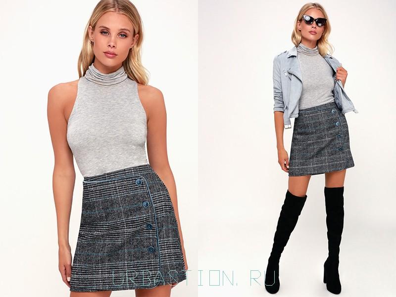 15597987a6a Теплая юбка-трапеция с эффектом запаха выполнена из шерстяного материала.  Это короткие модели с пуговицами для декорирования. На завязках шьют только  летние ...